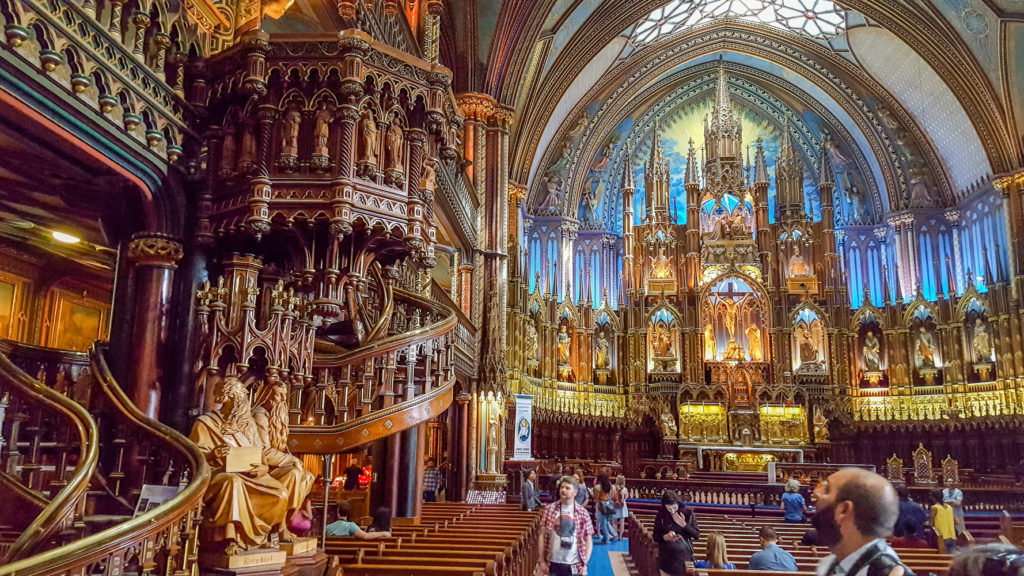 The amazing Notre-Dame Basilica in Montreal. From https://www.nonstopfromjfk.com